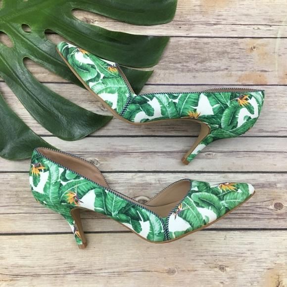 9c329167c330f Kelly & Katie tropical leaf print d'orsay heels NWT